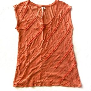 Tops - Lauren Conrad Coral Ruffle Tank Medium